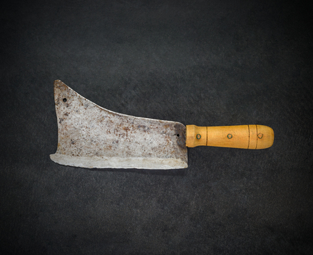 cleaver: Top View of Old and Used Butcher Meat Cleaver Stock Photo