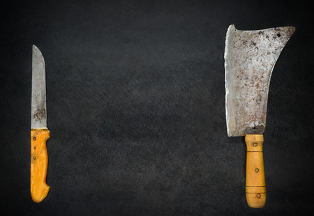 cleaver: Copy Space Text Area with Meat Cleaver and Knife on Dark Background