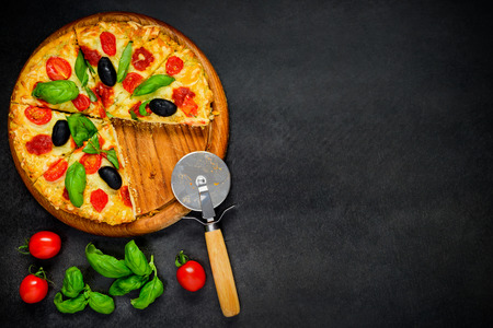 space text: Sliced Pizza with Cheese, Vegetables and Olives on Copy Space Text Area Stock Photo
