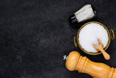 space text: Copy Space Text Area of Salt Shaker, Bowl and Grinder Stock Photo