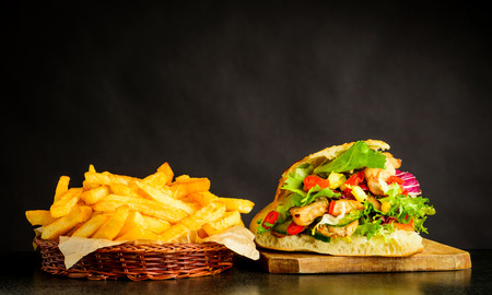Donner Kebap With Meat and Vegetables and French Fries