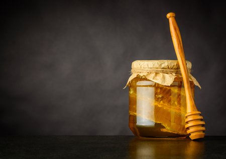comb: Honey Jar with Dripper, Comb and Copy Space