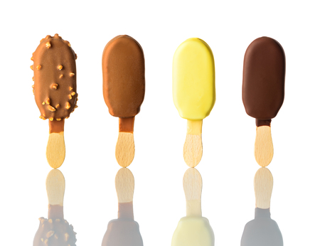 Ice Cream in Collage with Stick and Isolated on White Background