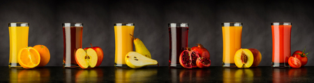 Different types of Fruits Juice Drinks on dark Background in Collage