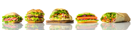 Different Types of Sandwich and Burger Isolated on White Background in a collage