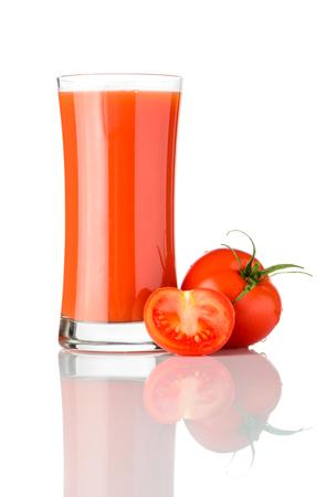 Glass of Fresh Organic Tomato Juice Drink Isolated on White Background Stock Photo