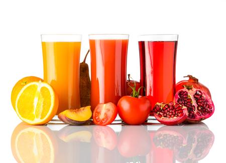 Glasses of Fresh Presed Fruit Juice Isolated on White Background Stock Photo