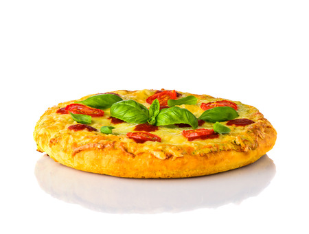 Pizza Margherita with Cheese, Tomato and Basil Isolated on White Background Stock Photo