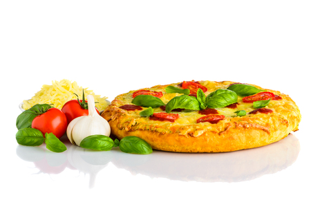 Pizza Margherita with Cheese, Tomato and Vegetables Isolated on White Background Stock Photo