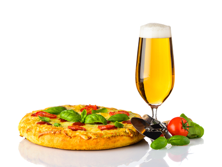 Pizza Mergherita with Cutter Wheel and Glass Beer Stock Photo