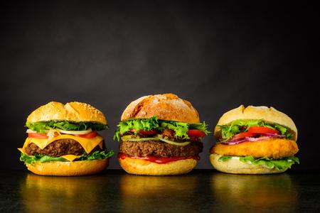 Different Burger Sandwitches. Cheeseburgerand Chickeburger