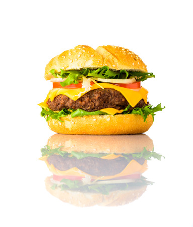 Tasty Looking Cheeseburger Sandwich Isolated on White Background Stock Photo
