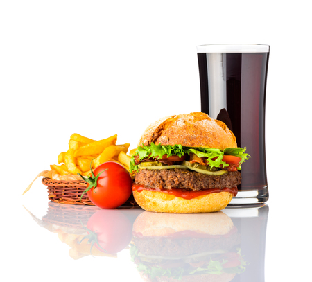 French Fries with Burger Fast Food and Cold Cola Isolated on White Background Stock Photo
