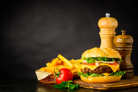 Cheeseburger Fast food with French Fries and Copy Space Text Area Stock Photo - 79452886