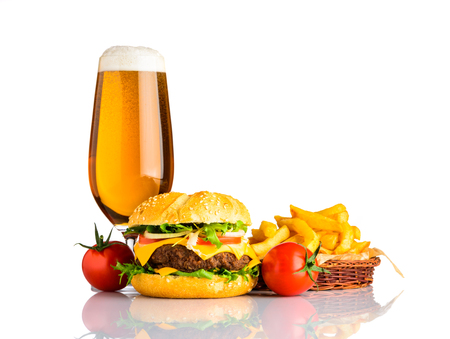 Tasty Looking Cheeseburger Sandwich with Beer and French Fries Fast Food Isolated on White Background Stock Photo - 79475543