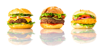 Three Different Burgers, Cheeseburger, Chickenburger and Sandwich Isolated on White Background