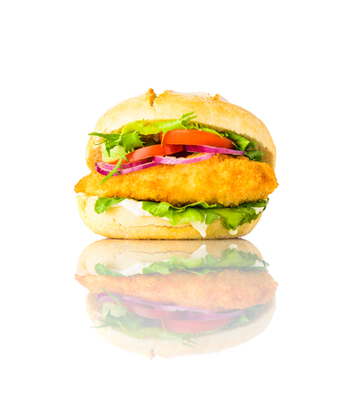 Chickenburger Sandwich Fast Food with Meat and Vegetables isolated on White, Background Stock Photo - 79411329