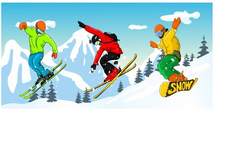 Skiing and Snowboarding Winter Landscape