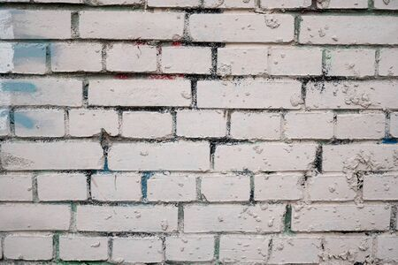 Background image of a white painted brick wall. Old smooth brickwork. Desktop Wallpaper. Substrate for text. Detailed brickwork texture. Brick wall in the exterior and interior. 版權商用圖片