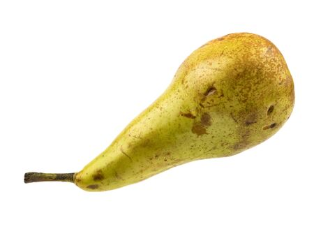 Isolated fruit on a white background. Ripe pear. Harvest fresh fruits. Healthy diet. Exotic fruits. Source of vitamins. Fruit diet. An elongated shape with a noticeable thickening in the lower part. Standard-Bild