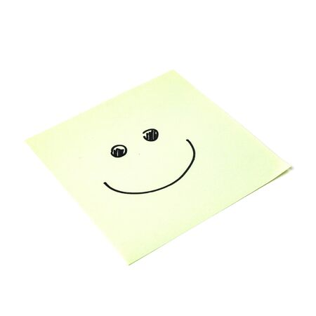 Paper sticker. Stylized image of the happy smiley character. Isolated sticker with shadow on a white background. Sticky note. A piece of paper for notes. Self-adhesive piece of paper.