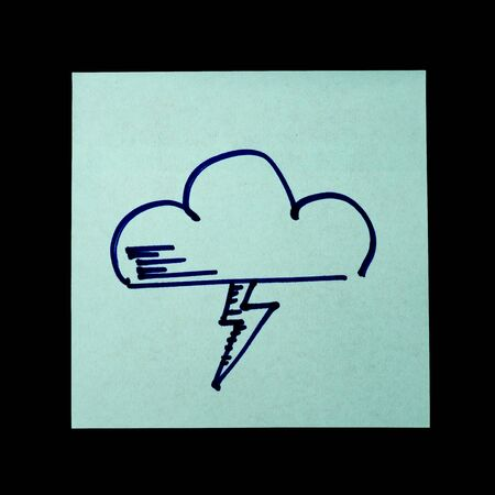 Paper sticker with the image of the cloud symbol with lightning. Isolated object on a black background. Paper texture. Sticky note. A piece of paper for notes. Self-adhesive piece of paper.