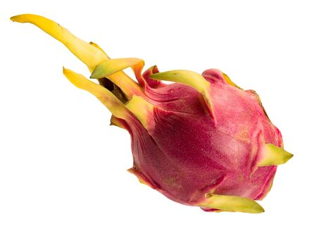 Isolated object on a white background. A pitaya or dragon fruit is the fruit of several different cactus species. Fruit is beautiful and unusual oval. Peel is pink, red and yellow.