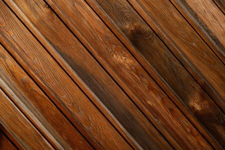 Wood texture. Background image of a wooden wall. Exterior of a wooden house. Wooden lining. Space for text. Background for text. The joint of a wooden board. Top view. Lining impregnated with stain.