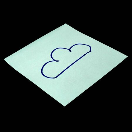 Paper sticker with the image of the cloud symbol. Isolated object on a black background. Paper texture. Sticky note. A piece of paper for notes. Self-adhesive piece of paper.