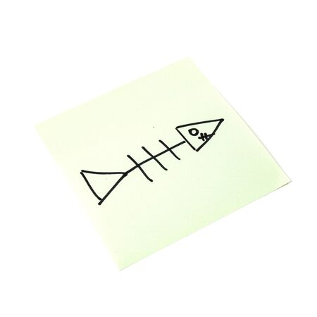 Paper sticker. Stylized image of the fish skeleton symbol. Isolated sticker with shadow on a white background. Sticky note. A piece of paper for notes. Self-adhesive piece of paper.