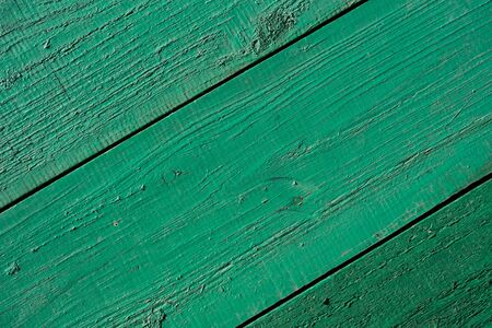 The texture of the wooden wall. The tree is painted green. Background image of a wooden board. Texture for the exterior. Interior decoration at home. Background for text. Space for text. Top view.