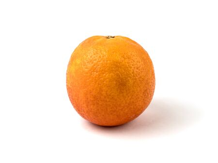 The blood orange is a variety of orange with crimson, almost blood-colored flesh. Orange with soft shadow is isolated on a white background. Detailed photo. Healthy food. Ripe fresh fruit. Side view.