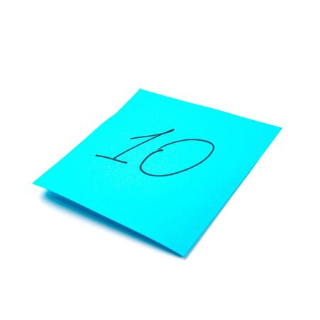 Paper sticker. Stylized image of the number ten. Isolated sticker with shadow on a white background. Sticky note. A piece of paper for notes. Self-adhesive piece of paper.