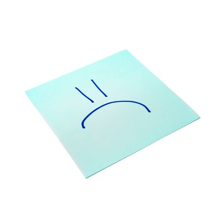 Paper sticker. Stylized image of the symbol of a sad emoticon. Isolated sticker with shadow on a white background. Sticky note. A piece of paper for notes. Self-adhesive piece of paper.