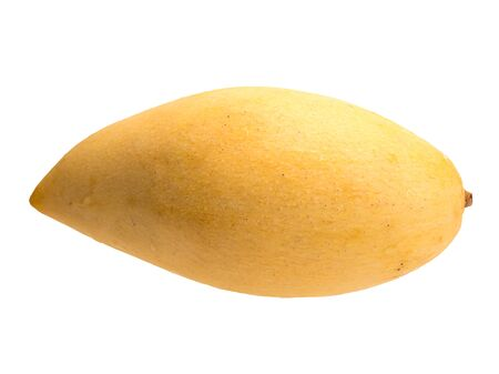 Isolated object on a white background. The fruit of the mango plant has a fibrous structure and a sweet taste, the peel is painted in yellow tones. Ripe fruit contains many vitamins, sugars.