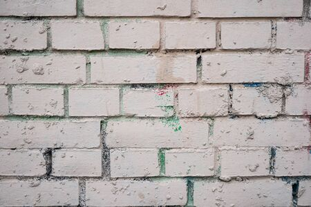 Background image of a white painted brick wall. Old smooth brickwork. Desktop Wallpaper. Substrate for text. Detailed brickwork texture. Brick wall in the exterior and interior. Imagens