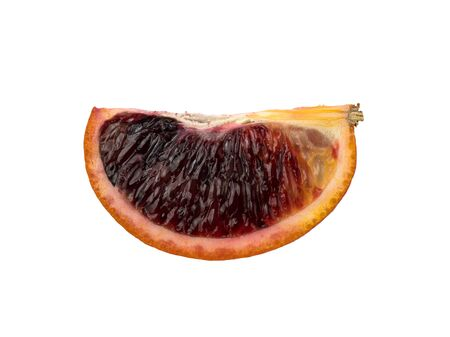 The blood orange is a variety of orange with crimson, almost blood-colored flesh. Isolated object ripe orange. Detailed photo. Proper nutrition. Healthy food. Vegetarian food. Ripe fresh fruit.