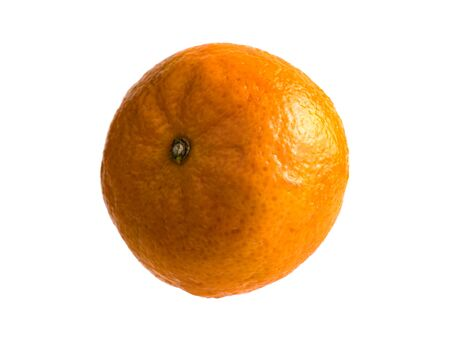 Isolated fruit on a white background. Ripe tangerine. Harvest fresh fruits. Healthy diet. Vitamin C. Exotic fruit. Citrus culture. It is covered with a rough orange peel. Source of vitamins.