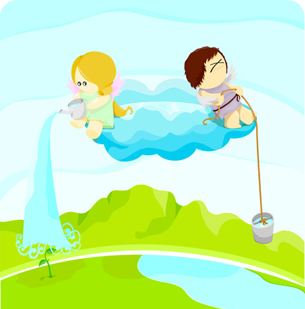 water cycle: water cycle illustration Illustration