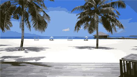 scenic white sand beach Illustration