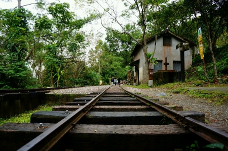 Empty railway with nice scenery background