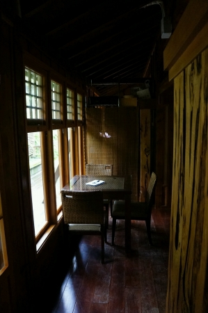 In a wooden house with selective focus