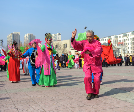 Luannan County - February 28, 2018: Yangko performing on the square, Luannan County, Hebei Province, China.