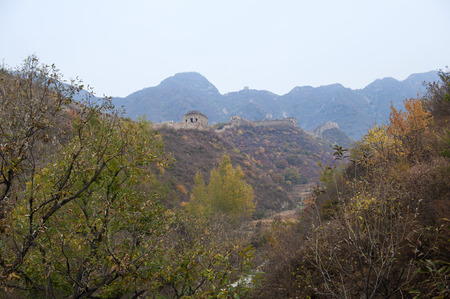 Sunny autumn in Chinas the Great Wall, Qingshan pass, Hebei, China