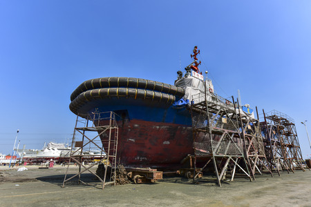 A ship being repaired at a ship repair plant