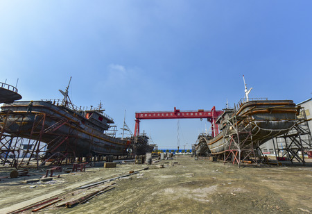 Ship hull in manufacturing: September 1, 2018, photographed at Tangshan Ark Shipyard, Luannan County, Tangshan City, Hebei Province, China, Asia Editorial