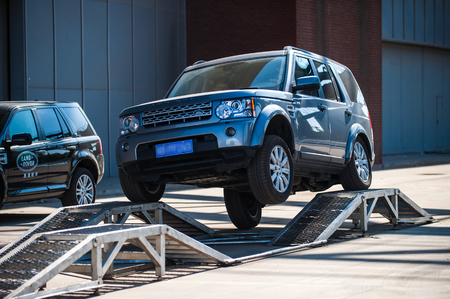 The Land Rover SUV appeared in the Tangshan motor show as early as June 2, 2012. It was taken in Tangshan City, Hebei, China. Editorial
