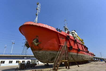 Vessels under maintenance, April 29 and September 1, 2018, at a shipyard on the Bohai coast of Luannan County, Hebei Province, China