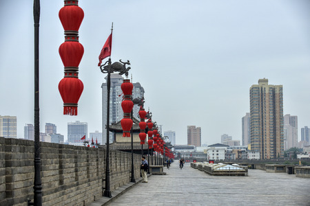Shaanxi ancient city wall and Bell Tower and Drum Tower, Xi'an, China Editorial