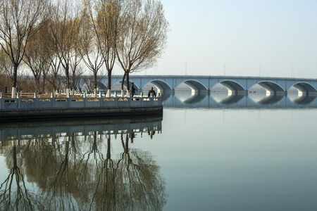 Chinese Bridge Architecture, Round-hole Bridge Scenery on Rivers Фото со стока - 113032346